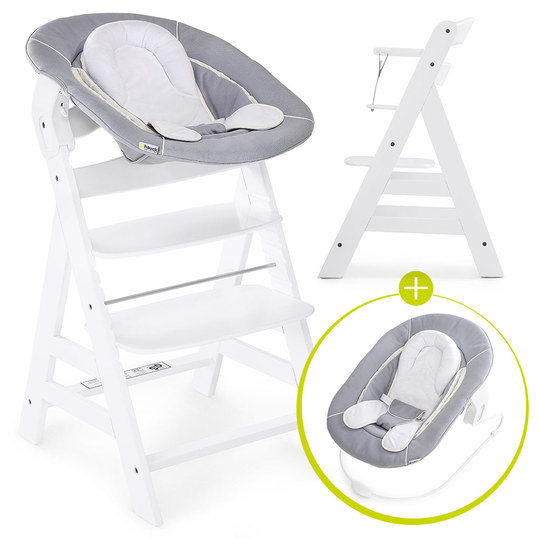 Alpha Plus White Newborn Set - 3-tlg. Hochstuhl + Neugeboreneneinsatz & Wippe Stretch Grey