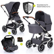 3in1 Kinderwagenset Condor 4 Air - Diamond Special Edition - inkl. Babywanne, Babyschale & Zubehörpaket - Asphalt