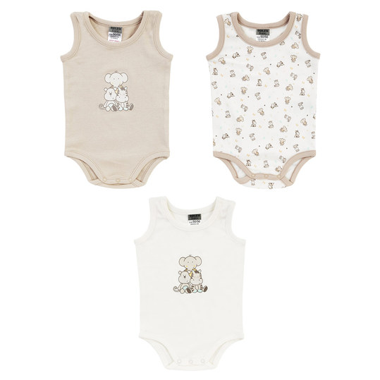 Body ohne Arm 3er Pack - Tierkinder Beige Offwhite - Gr. 50/56